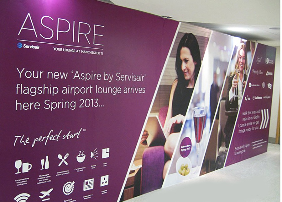 Aspire by Servisair Manchester Airport Hoarding Design